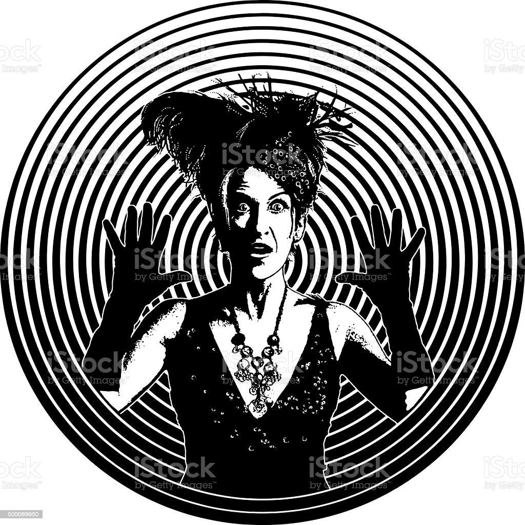 Surprised Woman with Vertigo Wearing Vintage Clothes vector art illustration