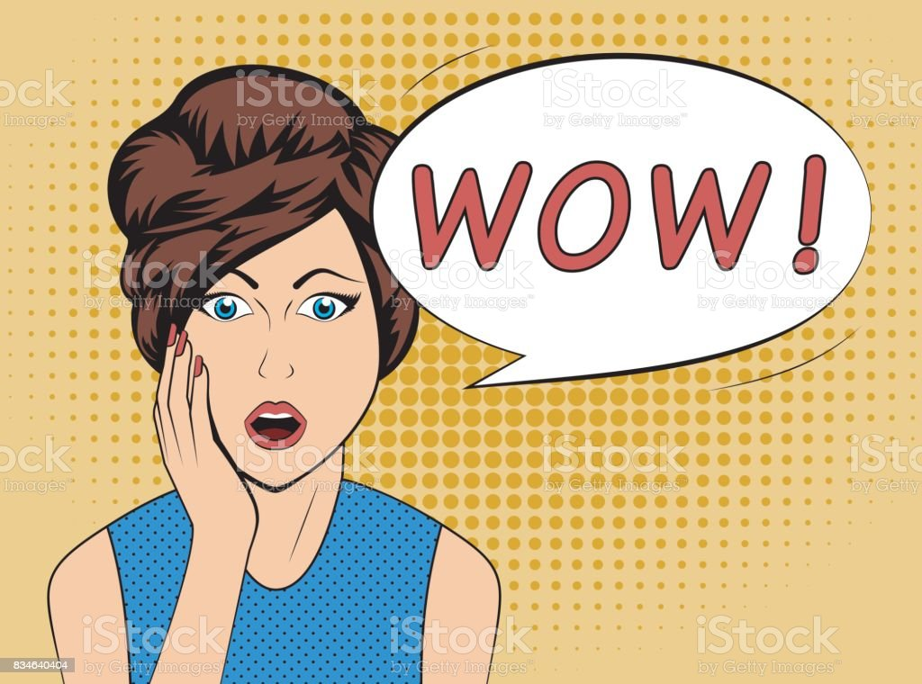 Surprised woman with WOW speech bubble in old comics style vector art illustration