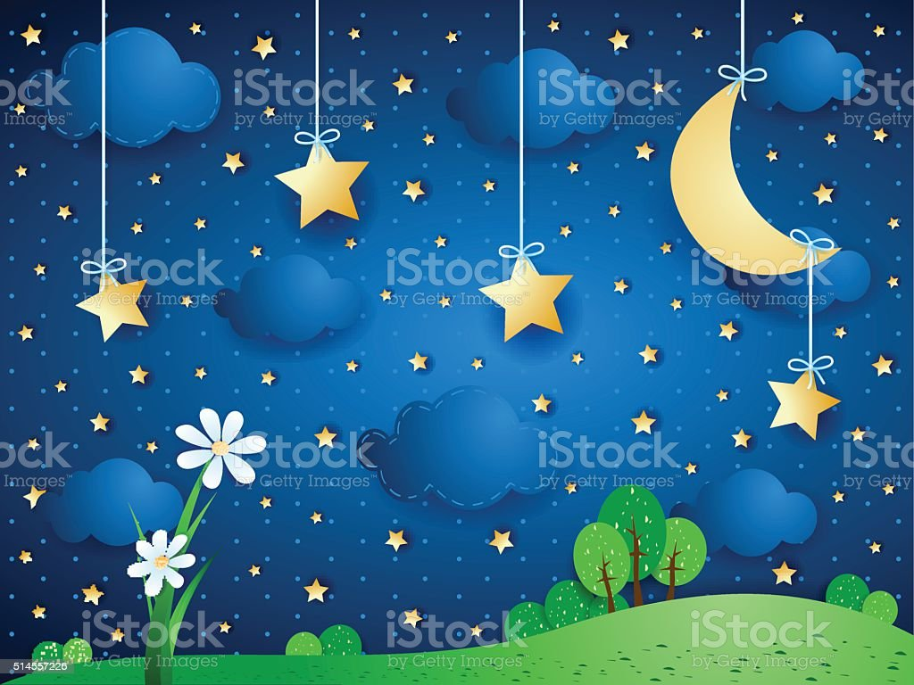 Surreal background with moon, clouds and flowers vector art illustration