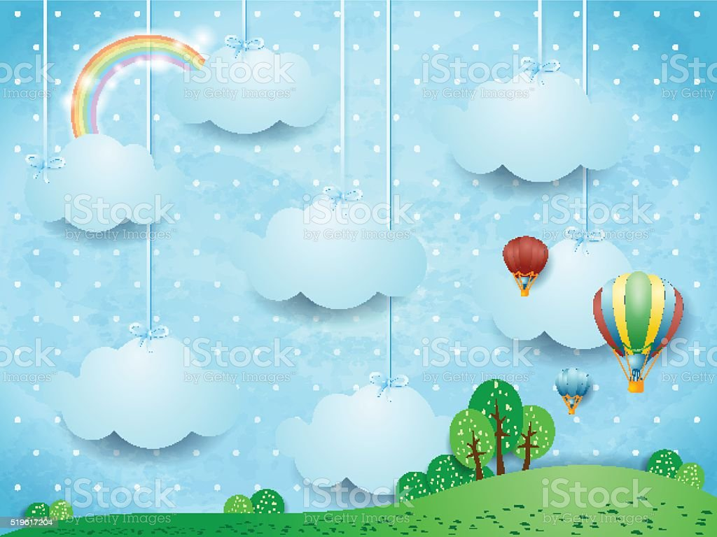 Surreal landscape with hanging clouds and hot air balloons vector art illustration