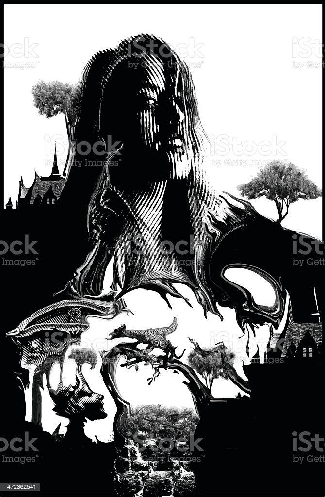 Surrealistic Landscape vector art illustration