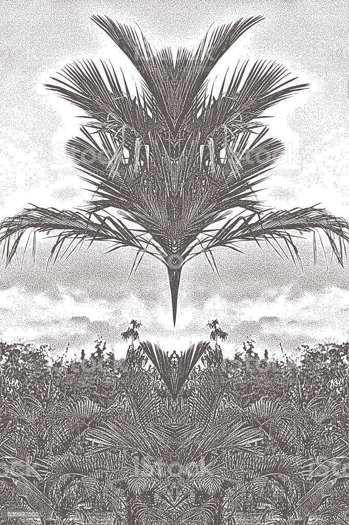 Surrealistic Palm Jungle vector art illustration