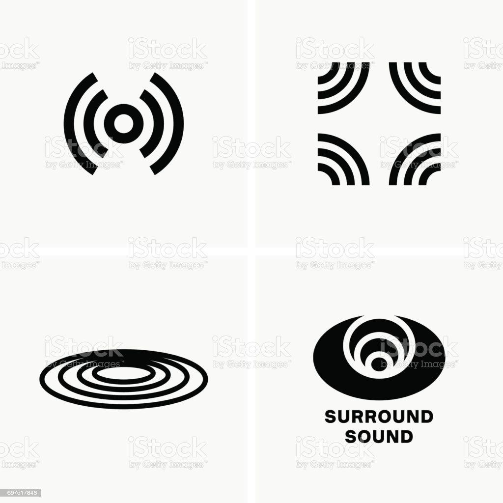 Surround sound symbols vector art illustration