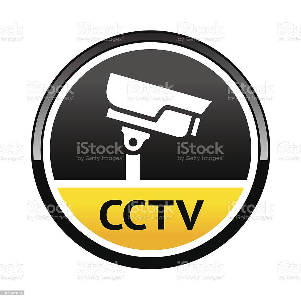 Surveillance camera, warning round symbol royalty-free stock vector art