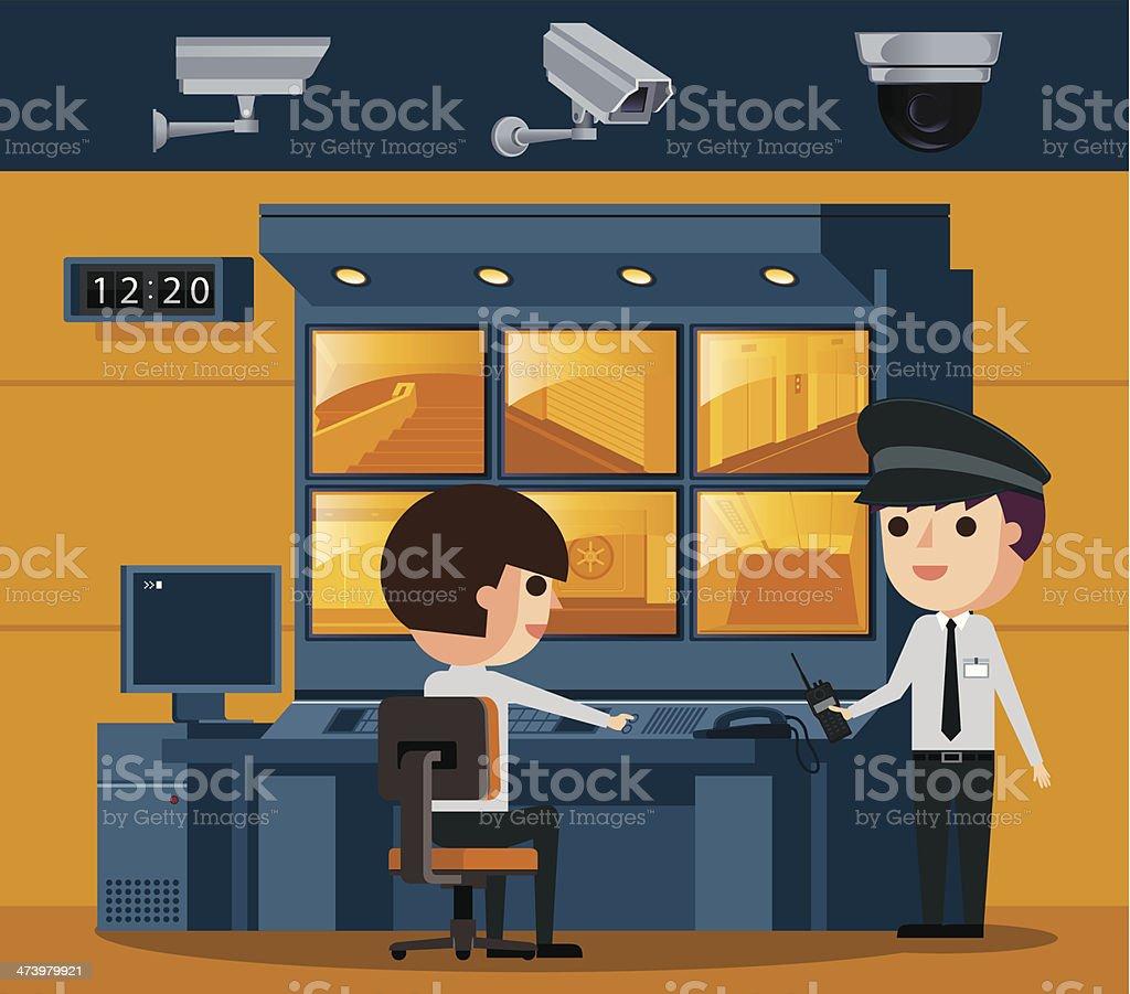 Surveillance Control Room vector art illustration