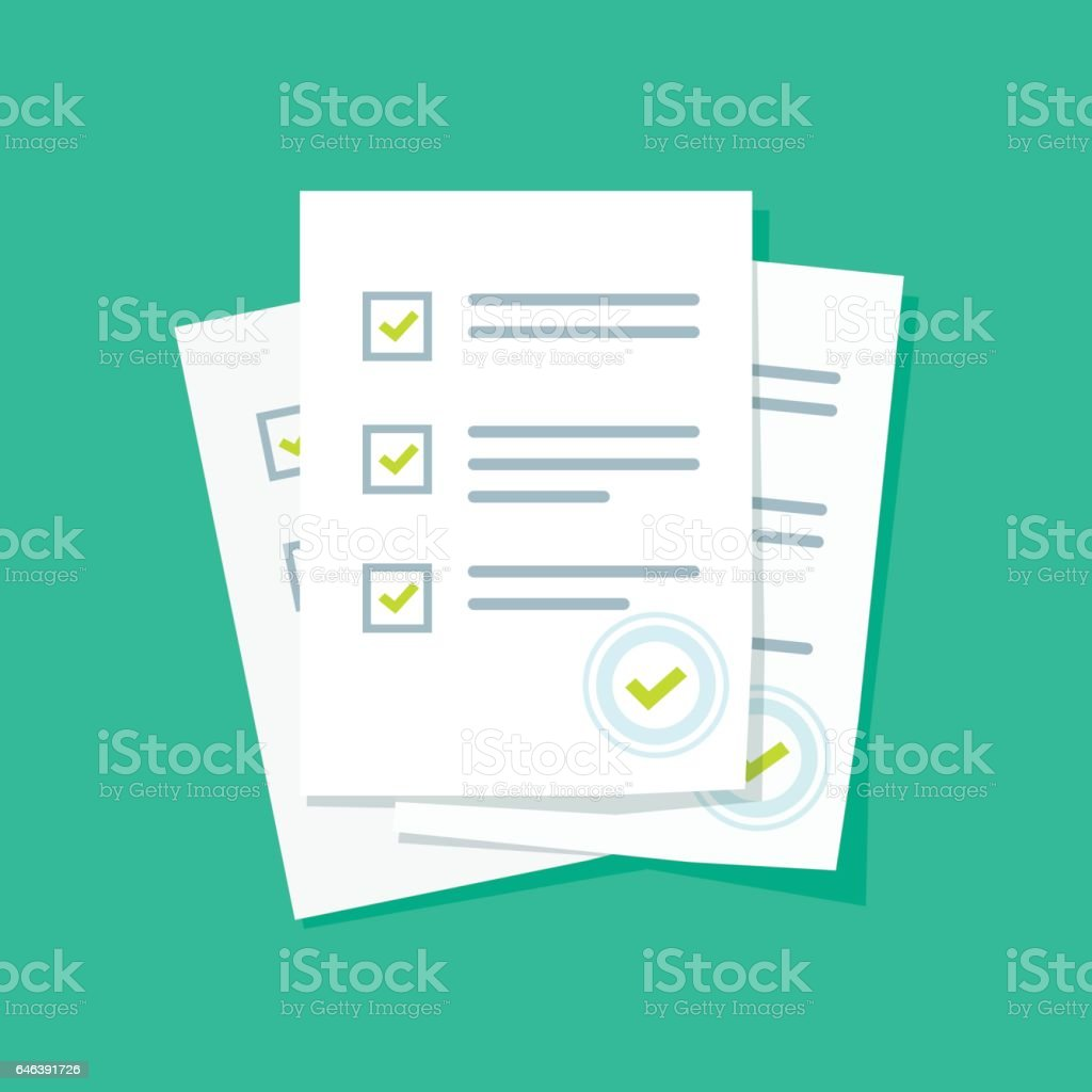 Survey or exam form paper sheets pile with answered quiz checklist and success result assessment vector art illustration