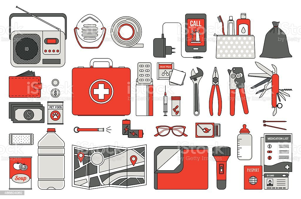 Survival emergency kit vector art illustration