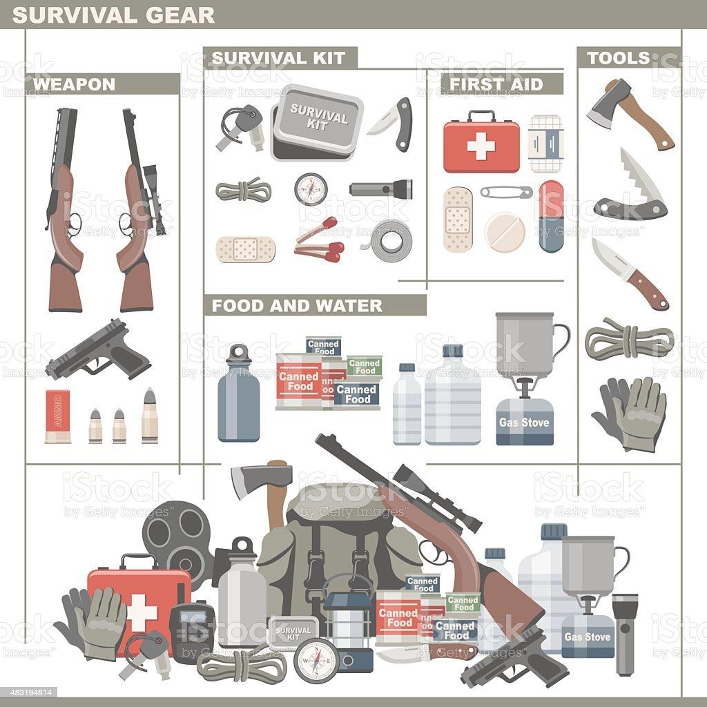 Survival Gear vector art illustration