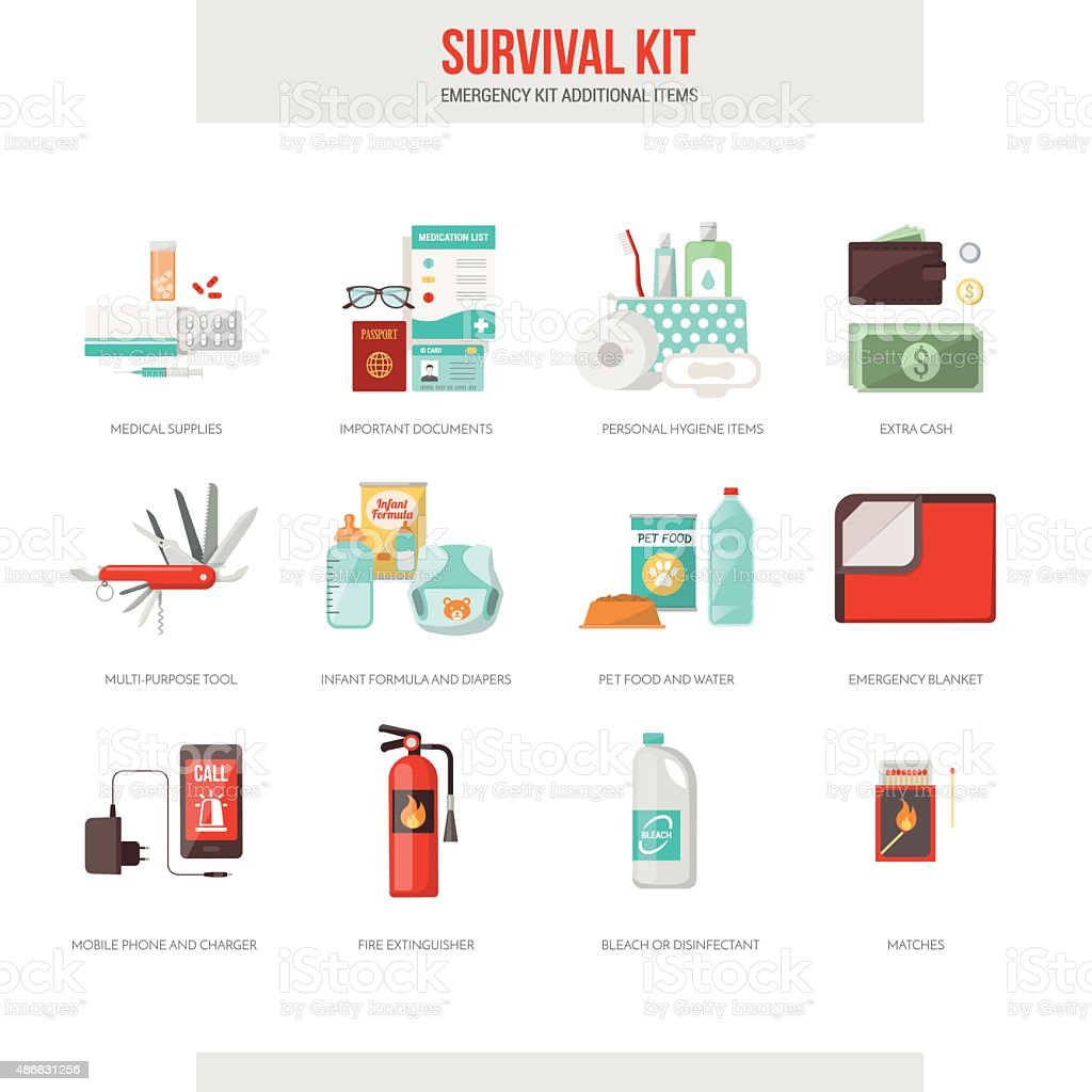Survival kit vector art illustration