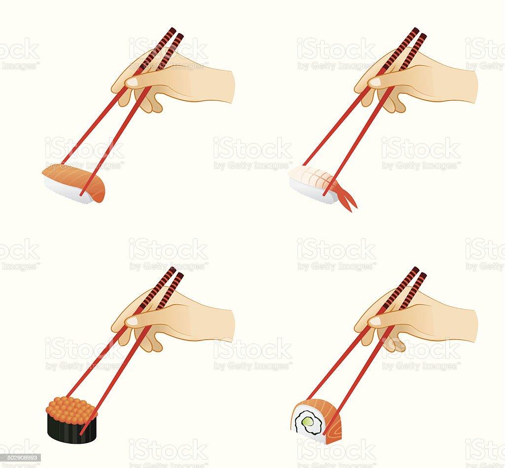 Sushi and Chopsticks royalty-free stock vector art
