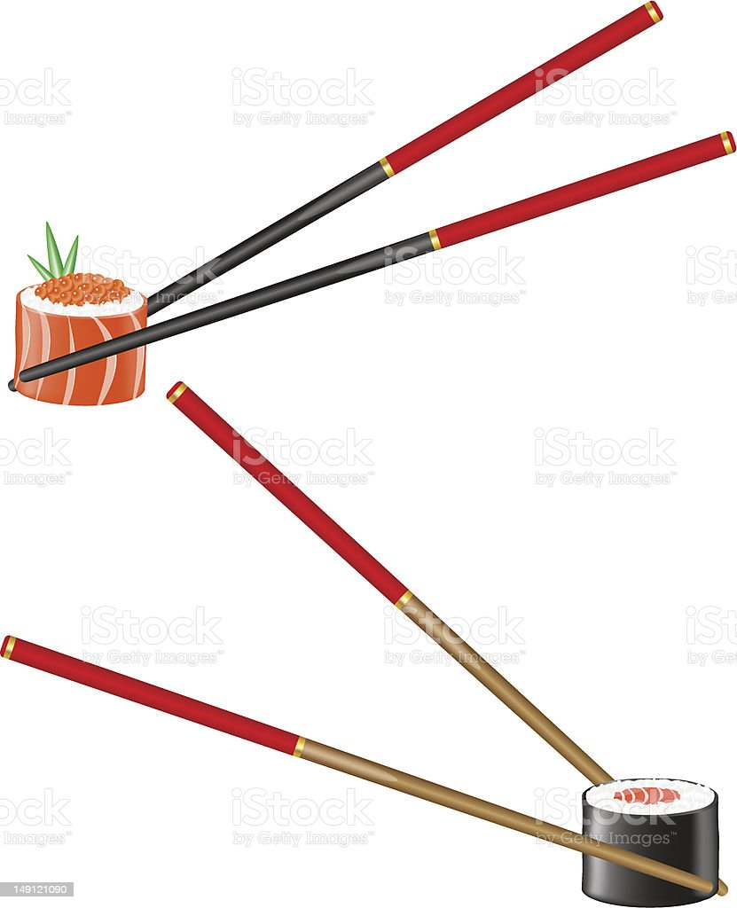 sushi and chopsticks vector illustration royalty-free stock vector art