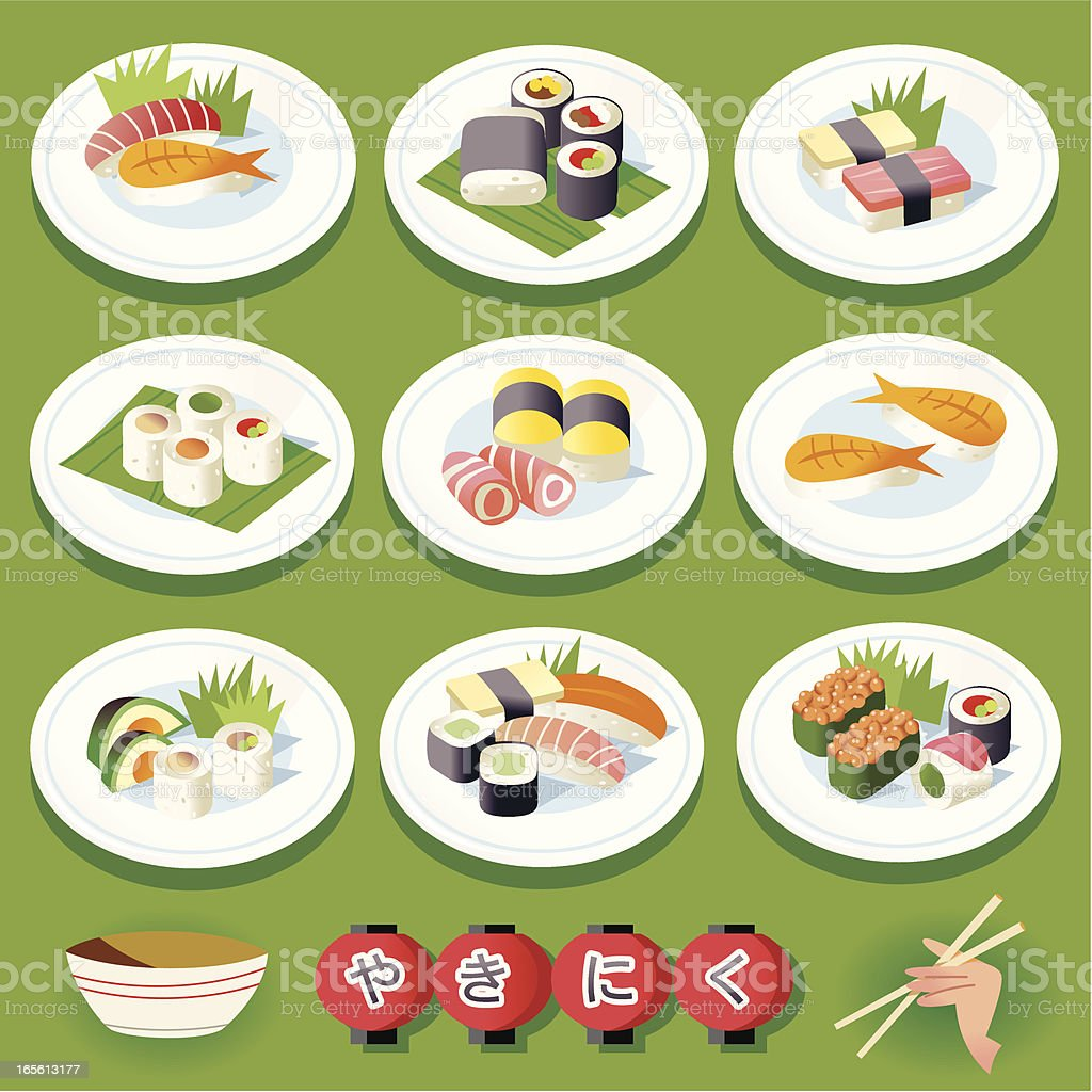 Sushi and Plates royalty-free stock vector art