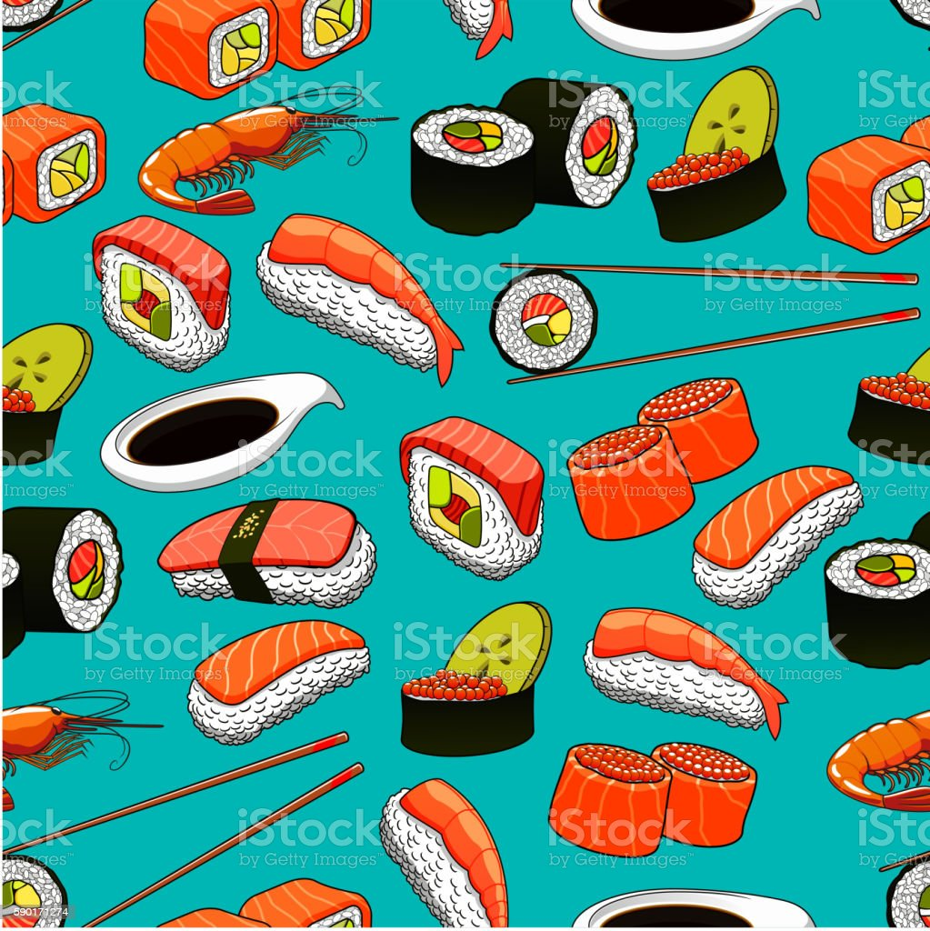Sushi and rolls seamless pattern background. vector art illustration