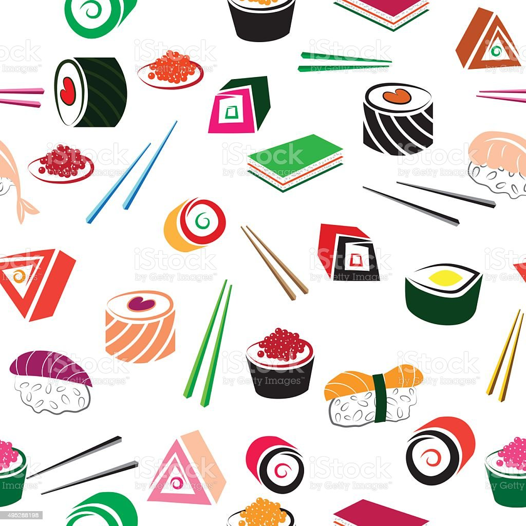 Sushi asian food seamless set. vector art illustration