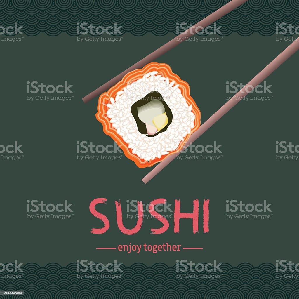 Sushi background design. vector art illustration