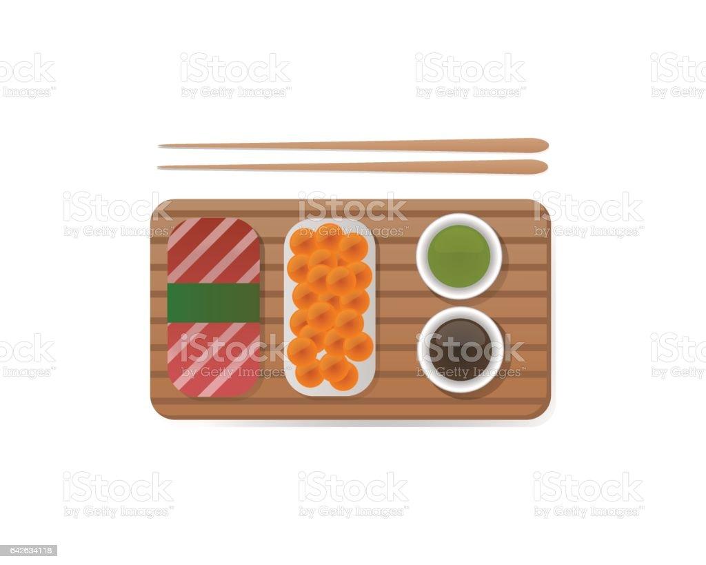 Sushi breakfast food and chopsticks vector illustration vector art illustration