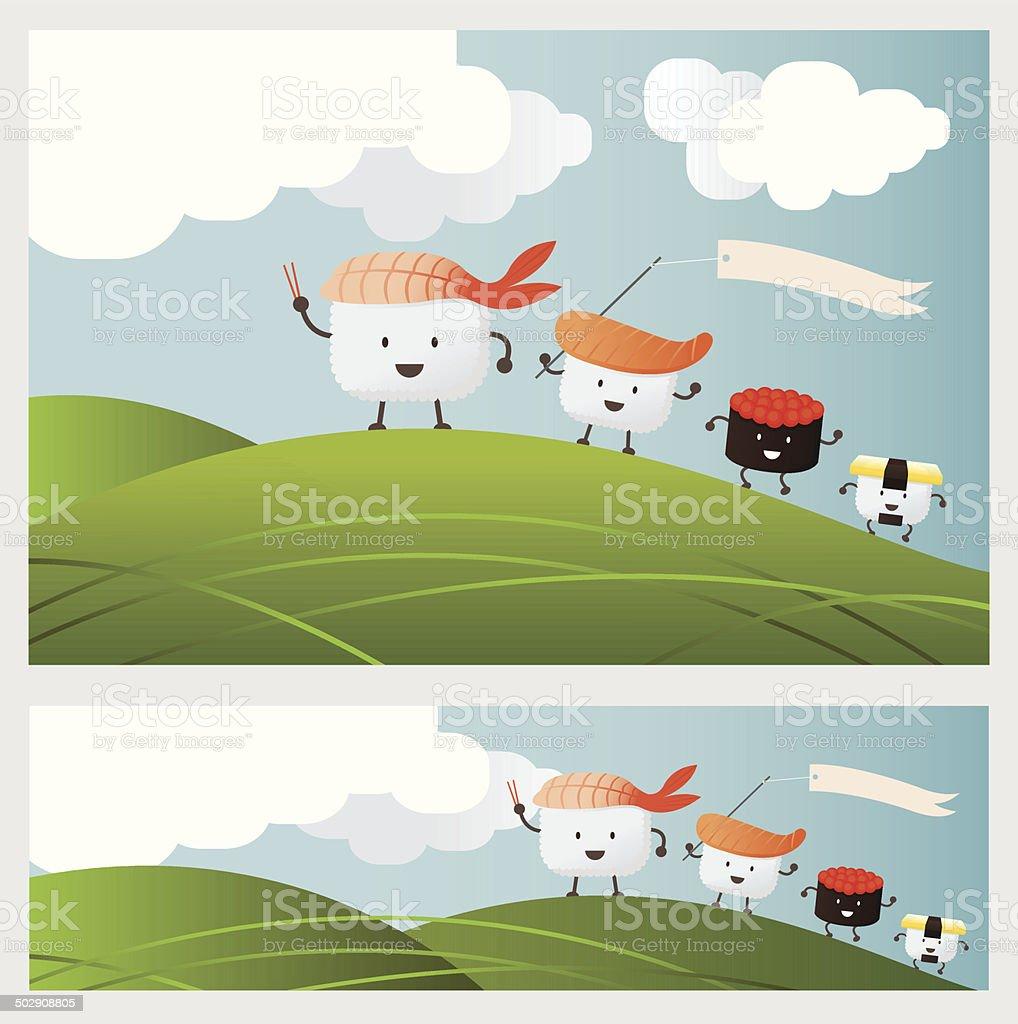 Sushi Character parade on mountain royalty-free stock vector art