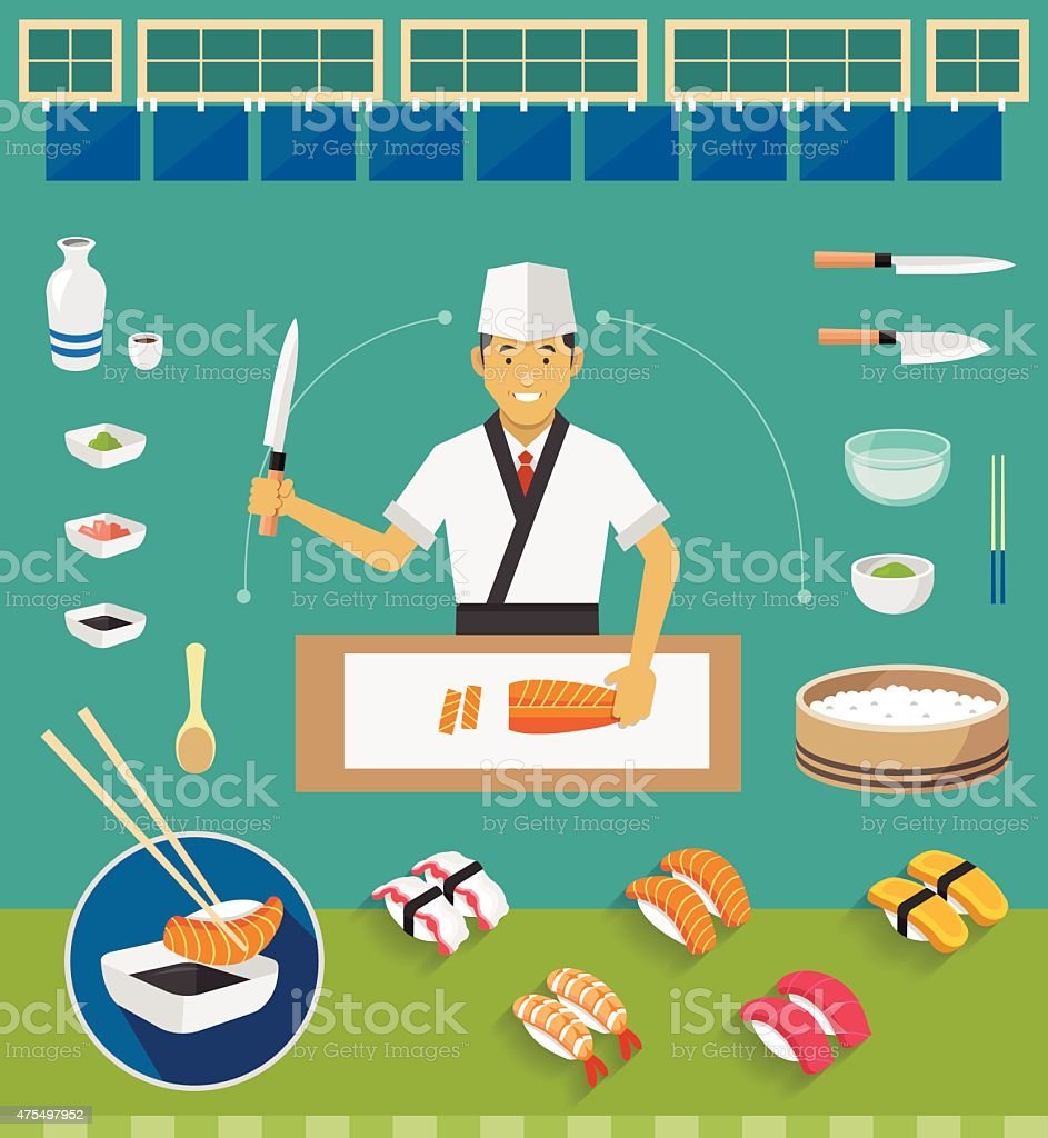Sushi Chef and Cookware Sets, Nigiri Sushi vector art illustration