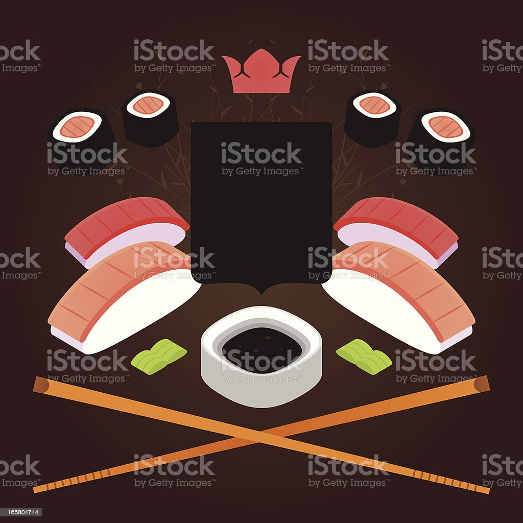 Sushi coat of arms royalty-free stock vector art