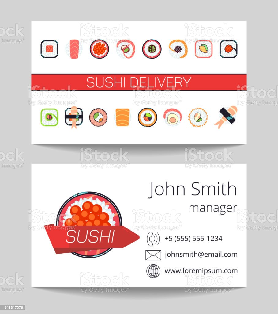 sushi delivery business card vector template stock vector art