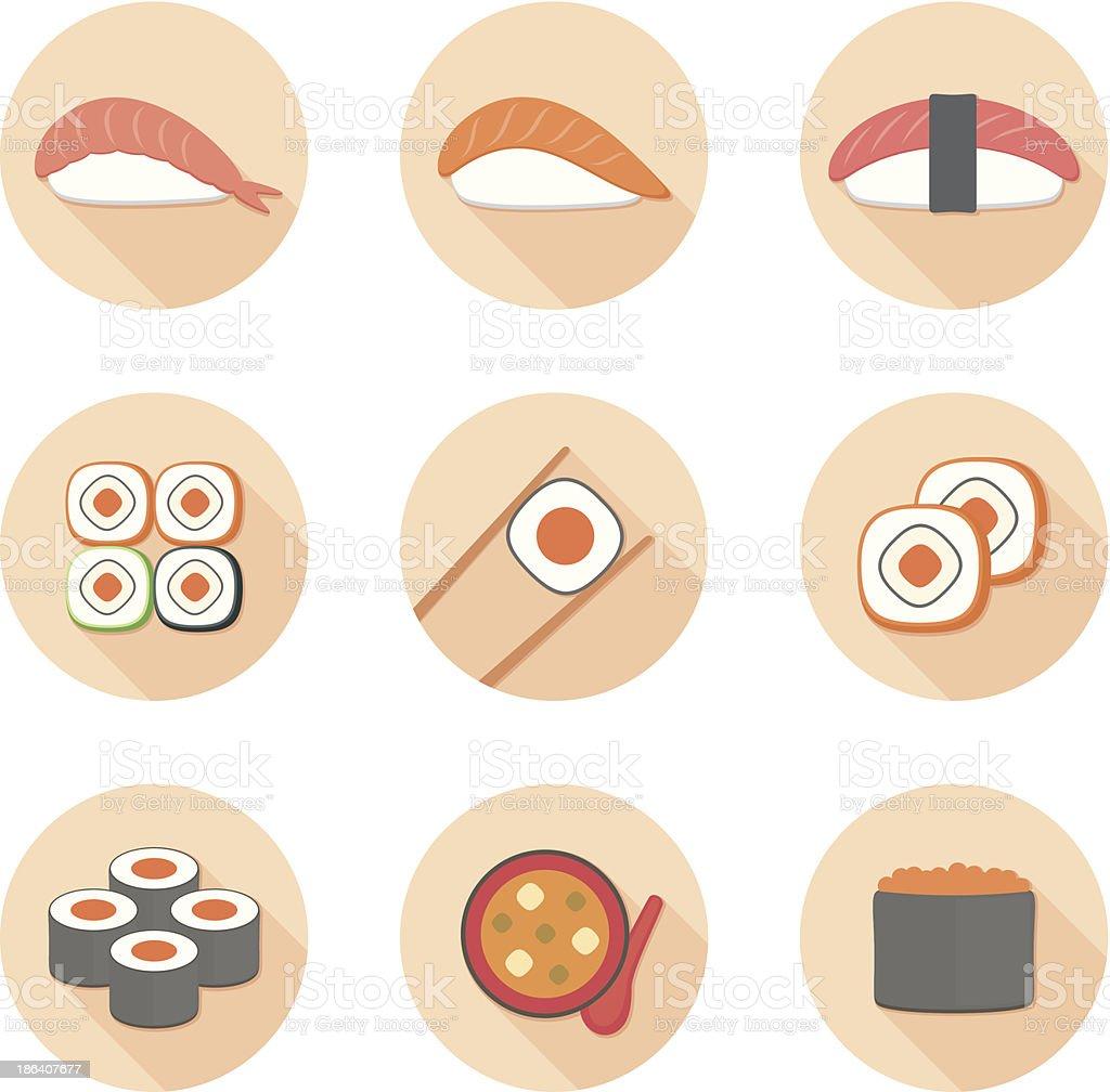 Sushi flat icon set vector art illustration