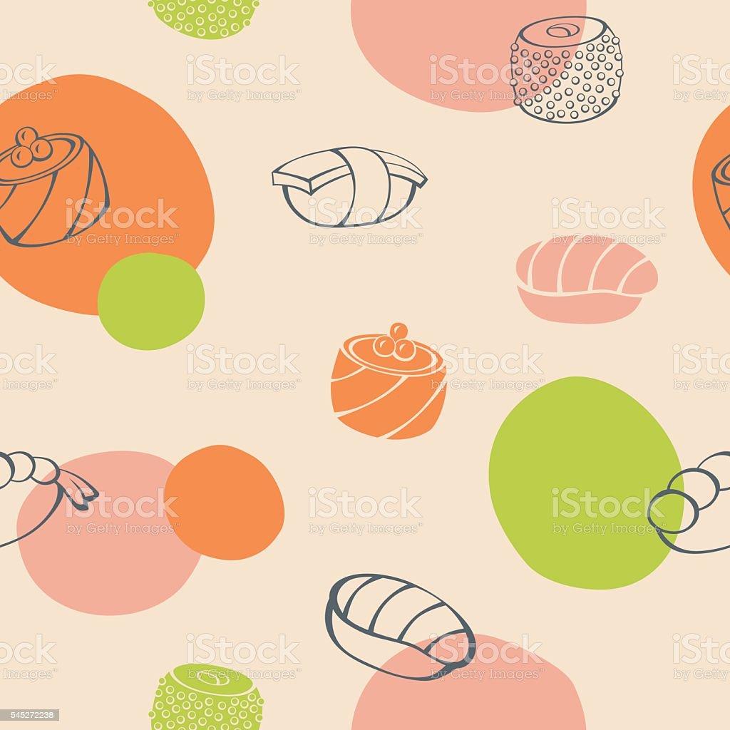 Sushi food green orange pink color seamless pattern illustration vector vector art illustration