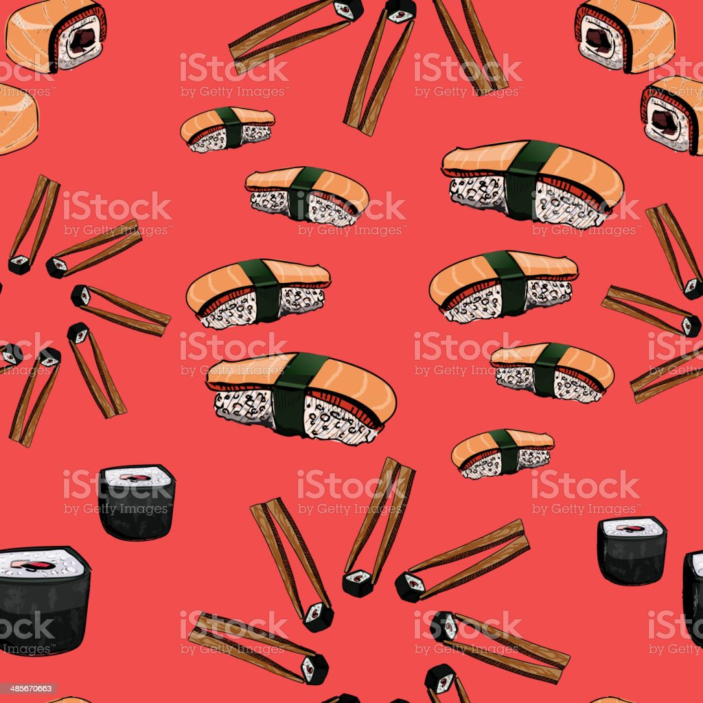 Sushi hand drawing seamless pattern royalty-free stock vector art