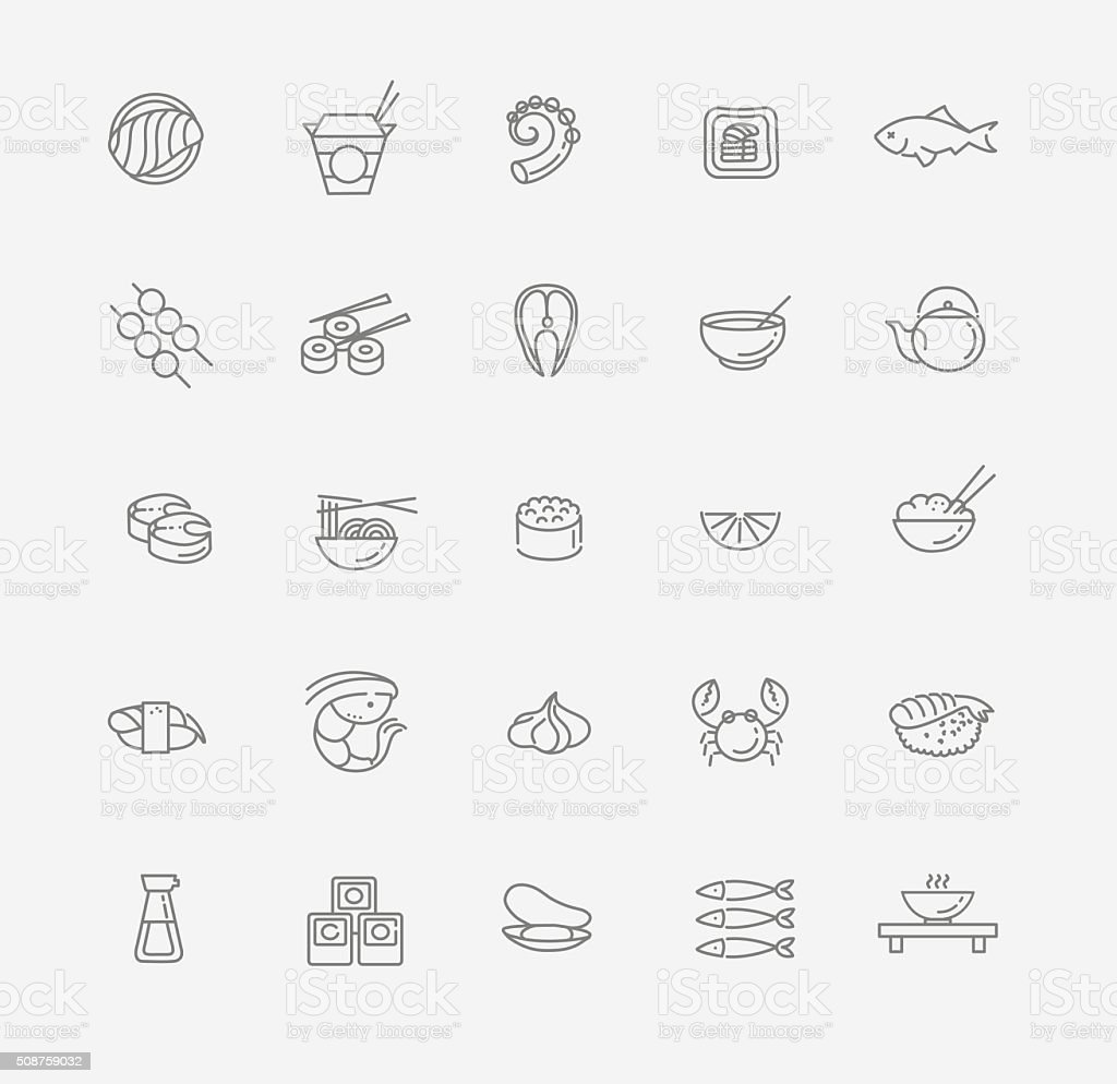 Sushi icon collection Vector vector art illustration