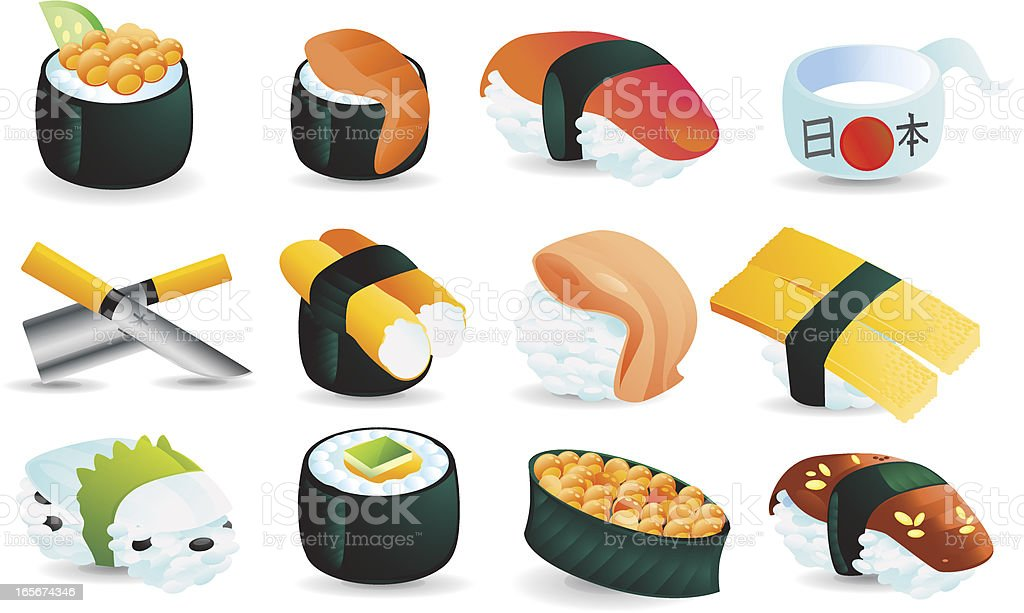 Sushi Icon Set vector art illustration
