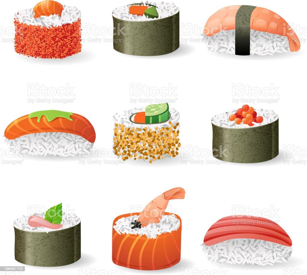 sushi icons set vector art illustration