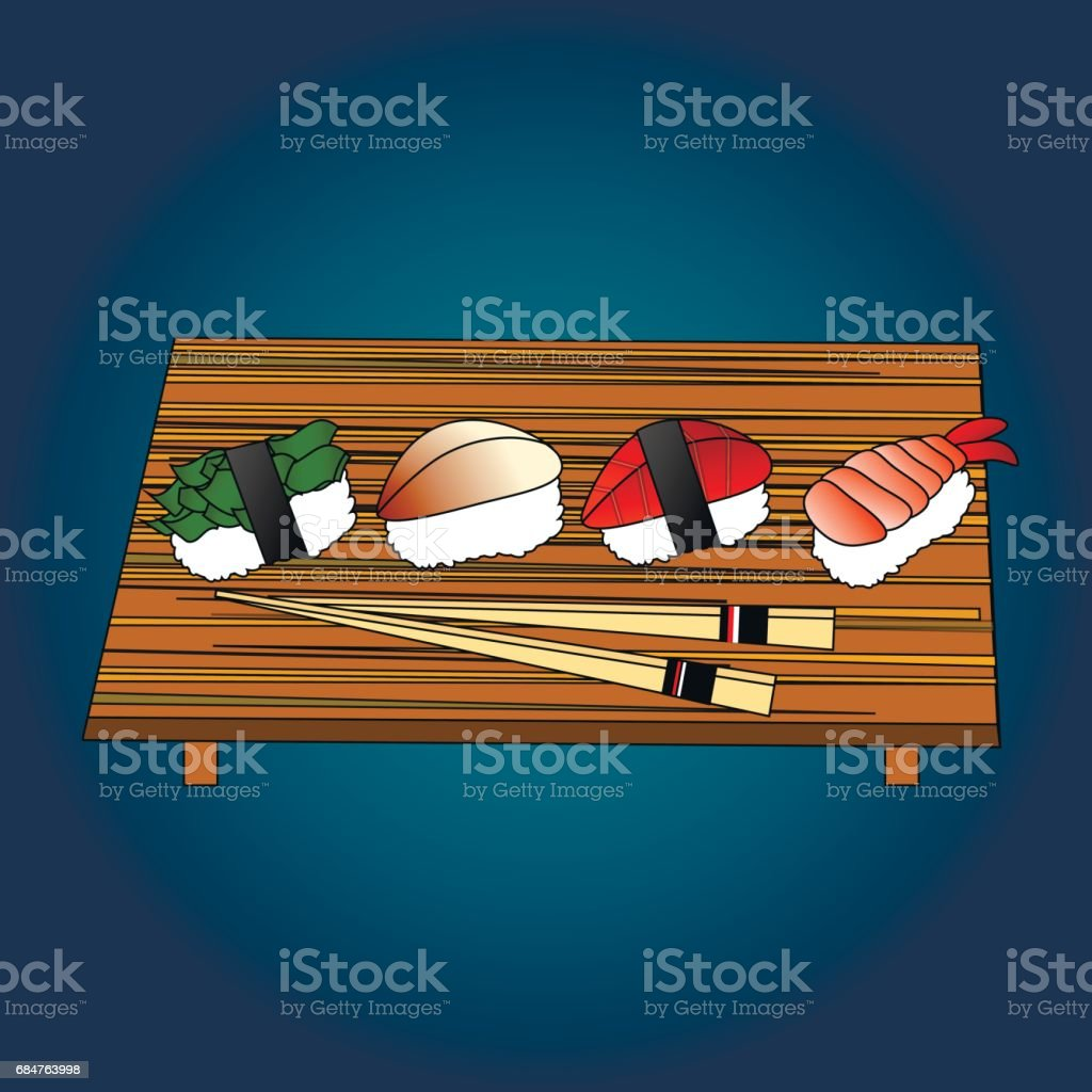 Sushi, Japanese food on a wooden background. Sushi rolls flat food and japanese seafood sushi rolls. Asia cuisine restaurant delicious. Sushi roll with salmon, smoked eel, selective food vector. vector art illustration