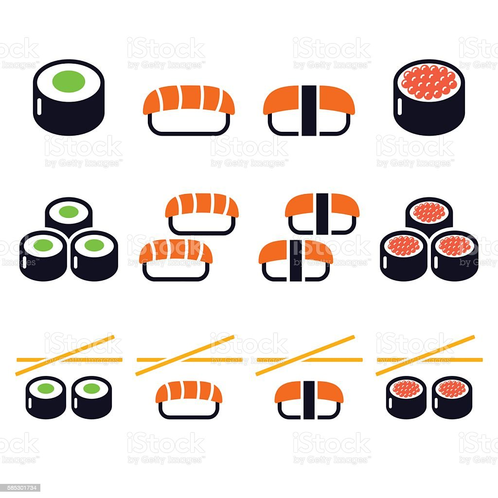 Sushi - Japanese food vector icons set vector art illustration