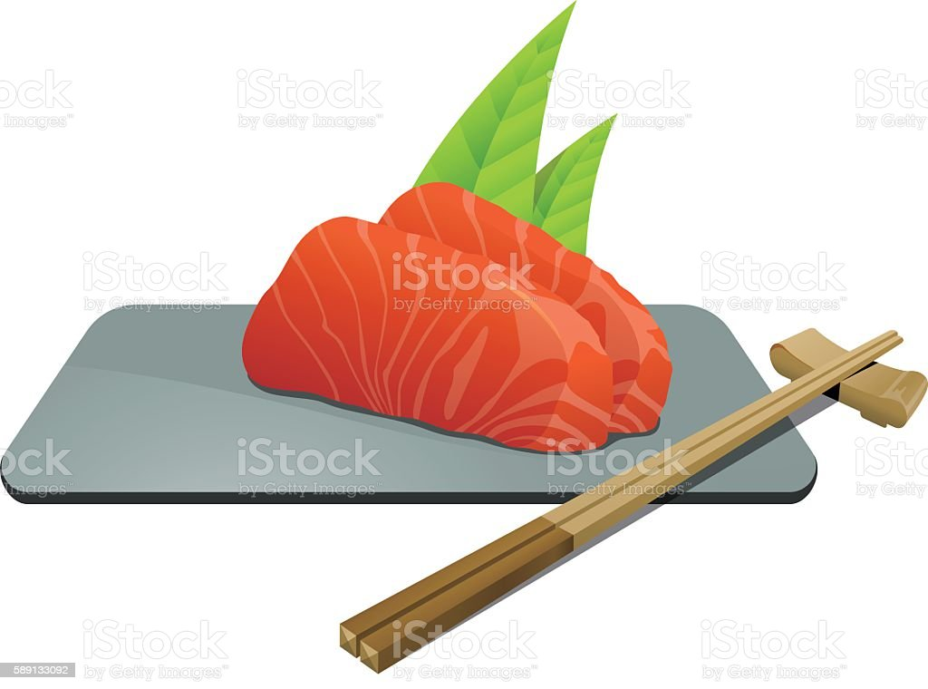 Sushi japanese food with fish and chopsticks vector art illustration