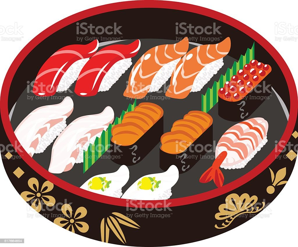 Sushi -Japanese traditional plate vector art illustration