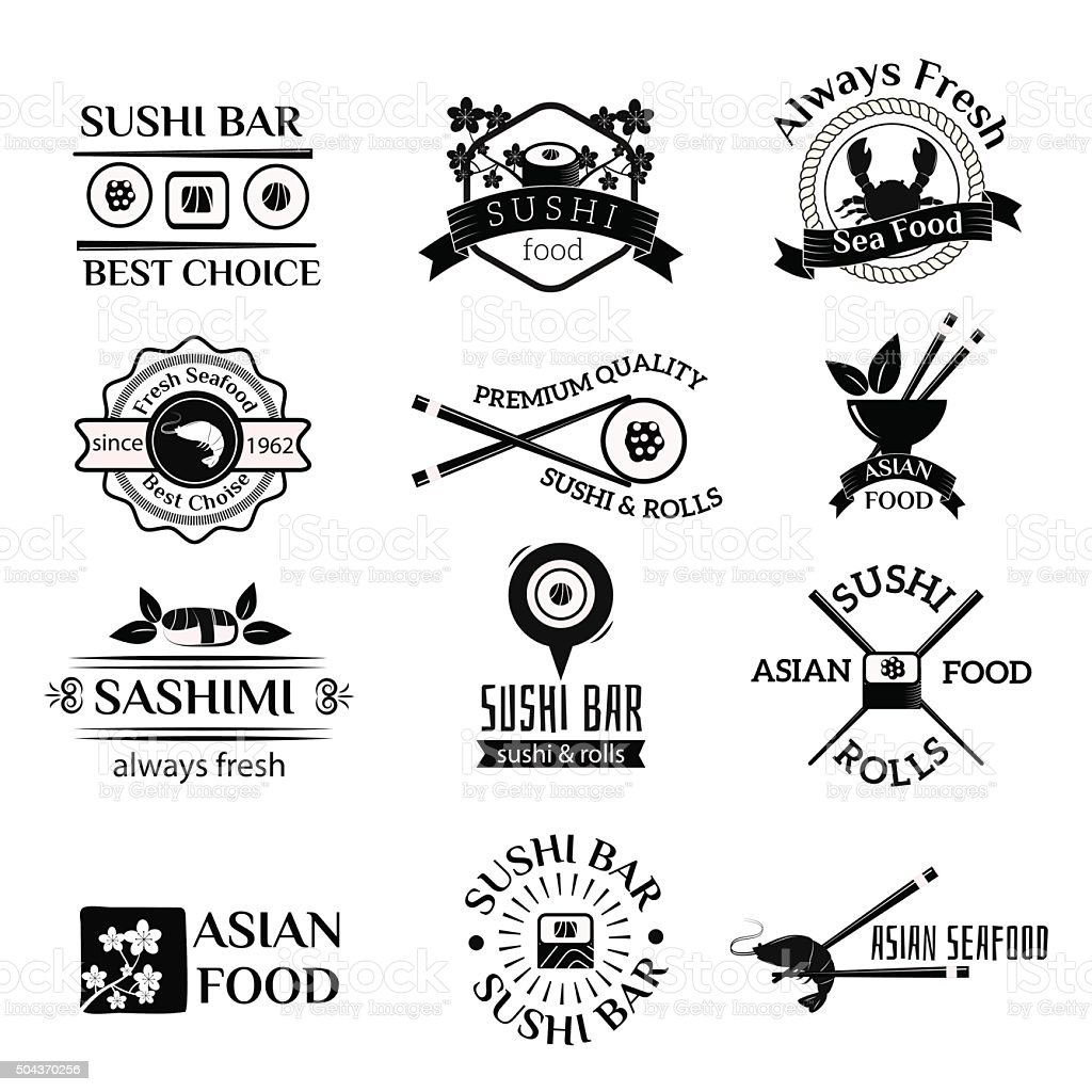 Sushi logo icons vector set vector art illustration