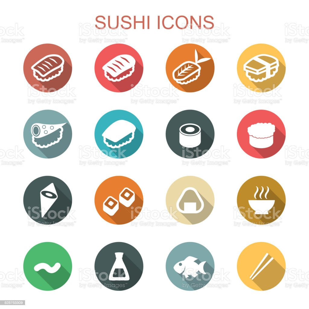 sushi long shadow icons vector art illustration