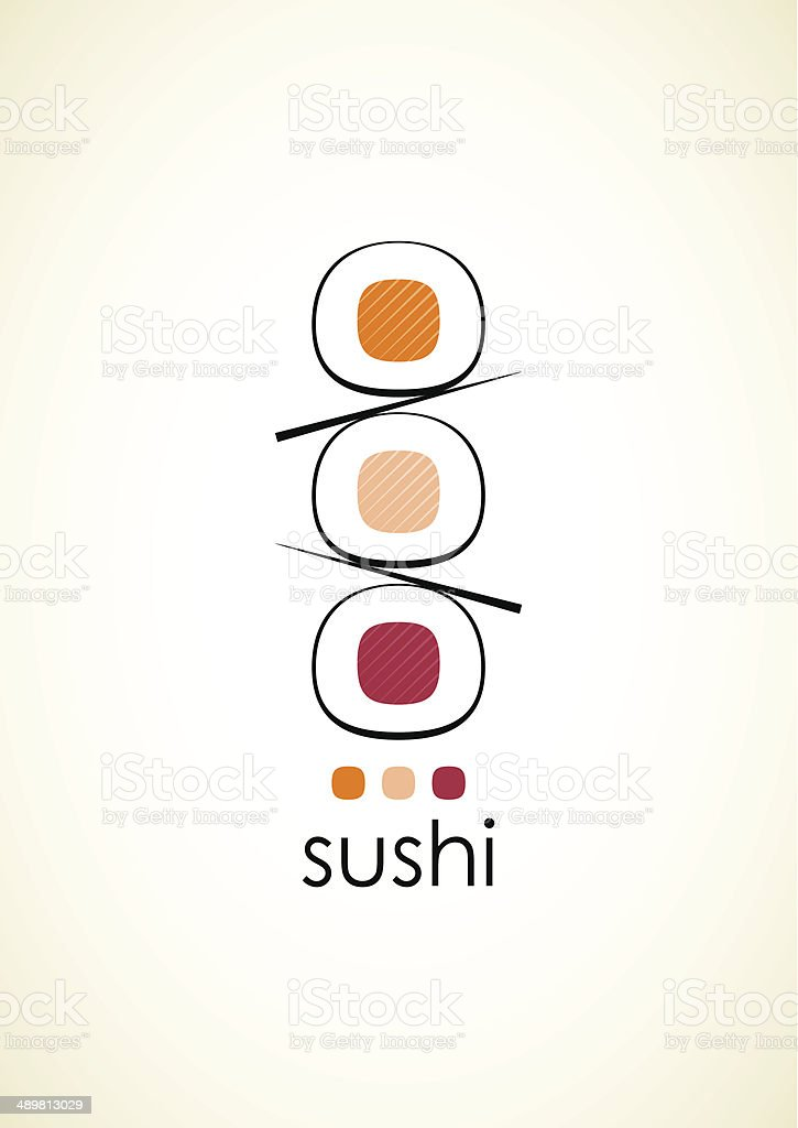 Sushi menu design template on light grey vertical background. vector art illustration