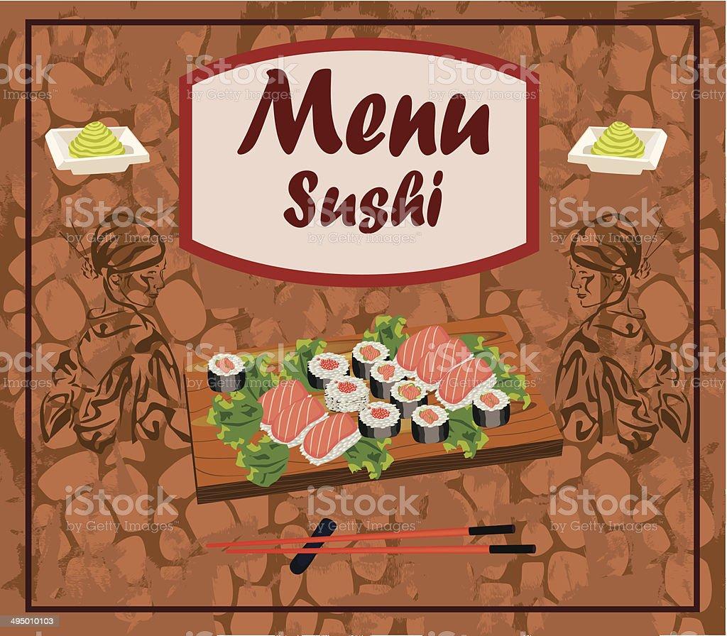 Sushi menu template royalty-free stock vector art