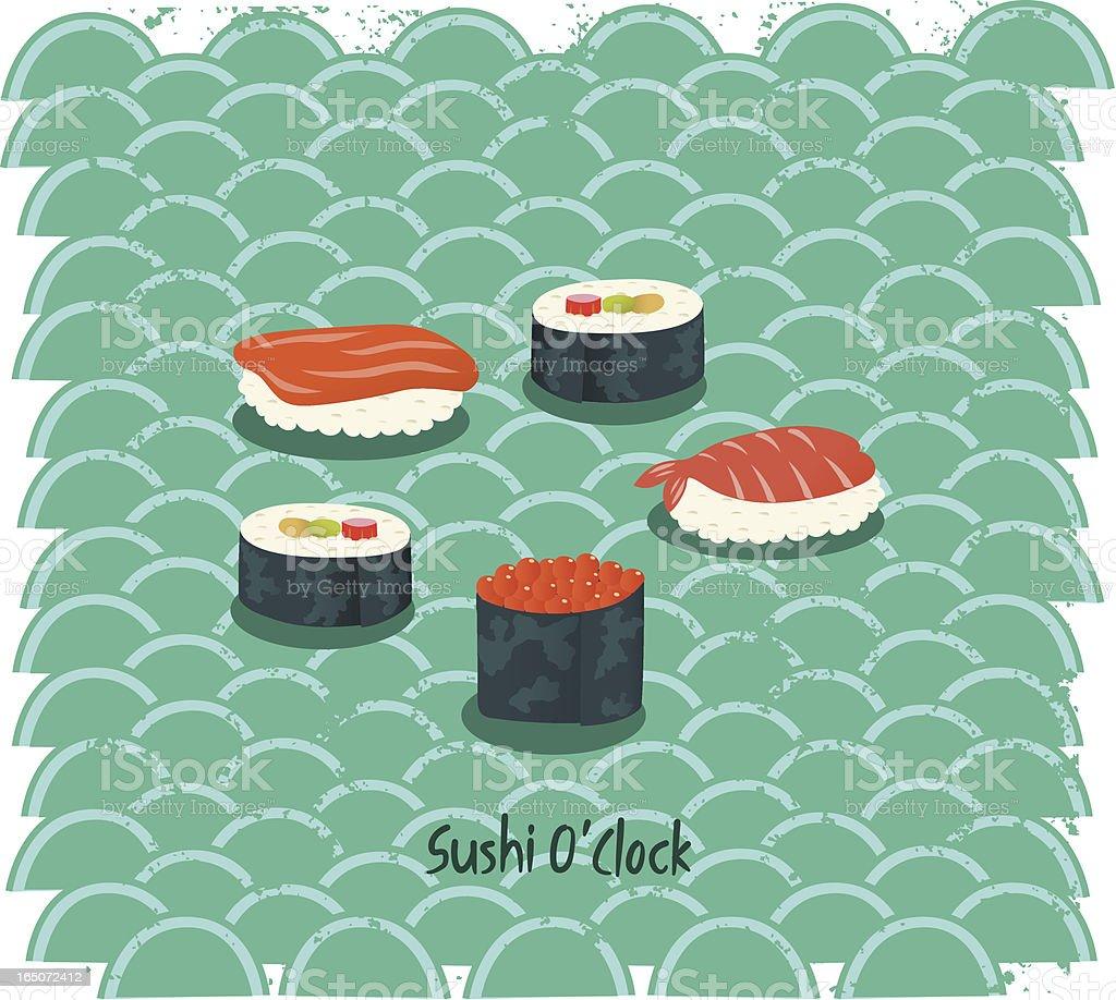 Sushi O'Clock vector art illustration