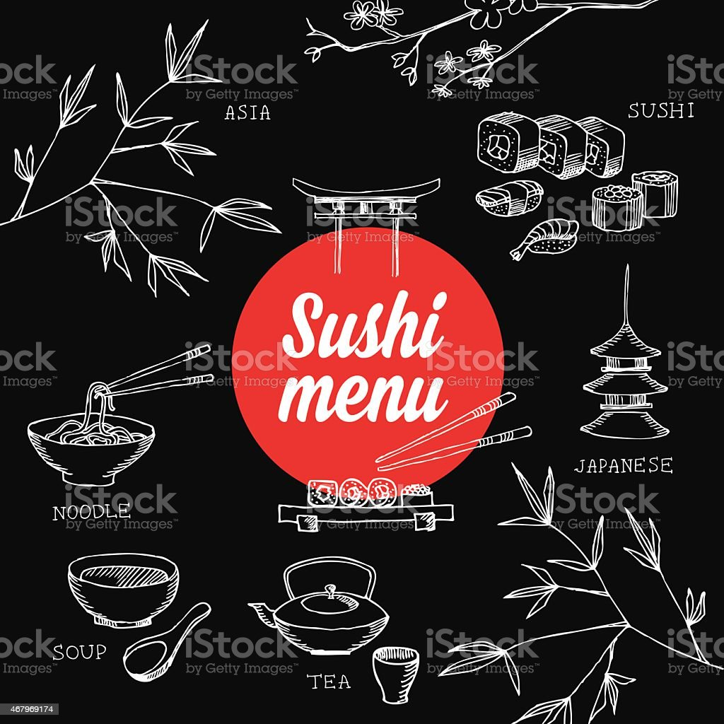 Sushi restaurant front cover menu vector art illustration
