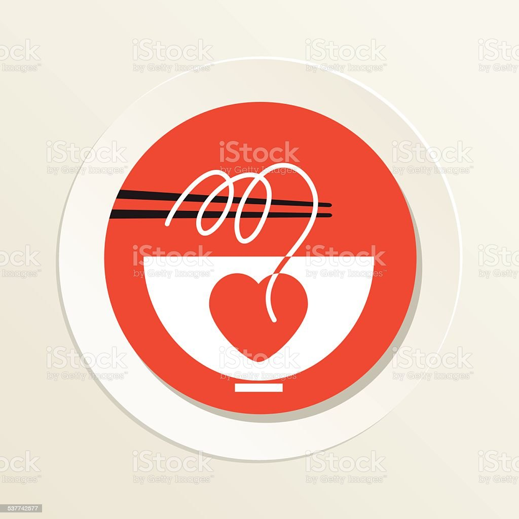 Sushi Restaurant Icon Ramen Noodles Bowl With Chopsticks And Heart vector art illustration