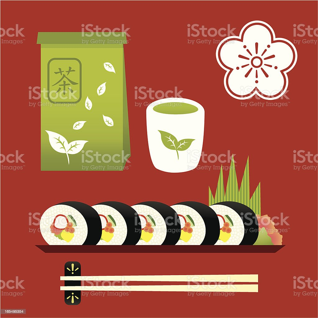 Sushi roll and green tea food icon set royalty-free stock vector art