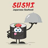 Sushi Roll Holding A Silver Platter With Background And Text