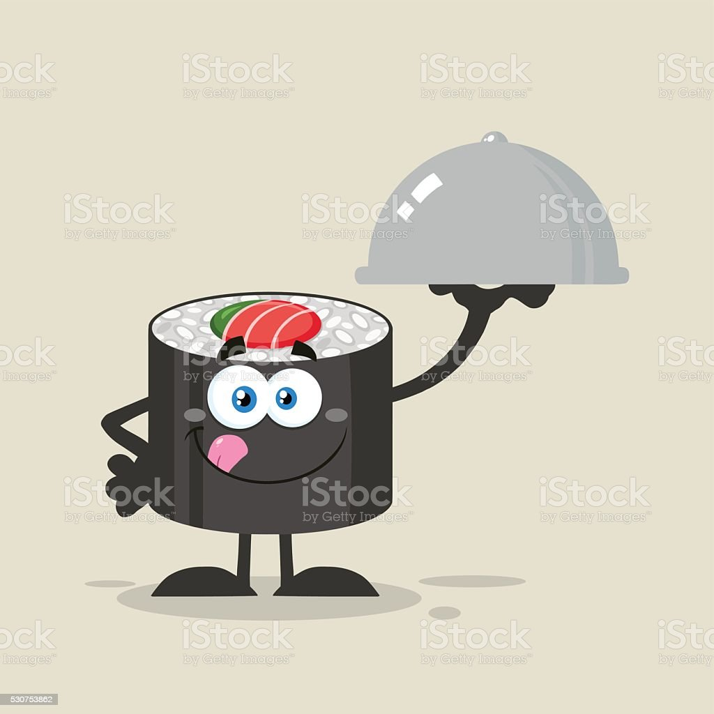 Sushi Roll Holding A Silver Platter With Background vector art illustration