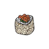 Sushi roll. Japanese food. Hand drawn vector illustration