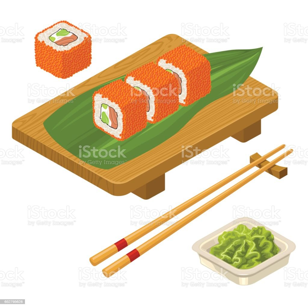 Sushi roll Philadelphia with wasabi, cream cheese, chopsticks, wood board. vector art illustration