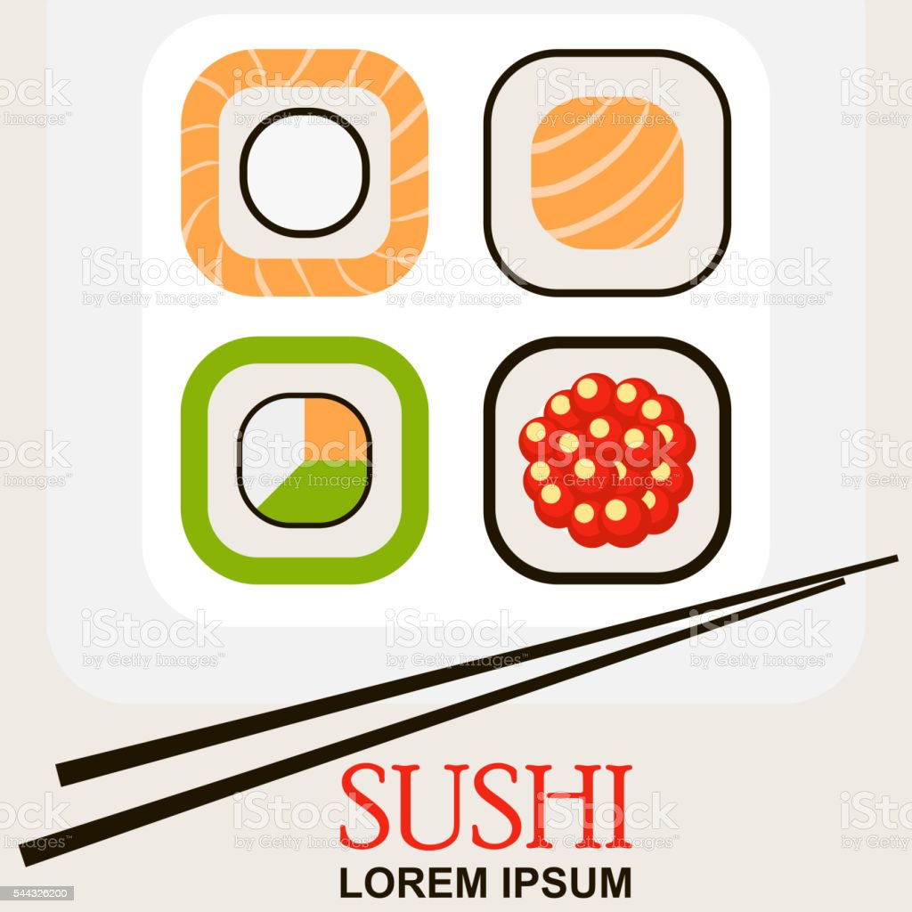 sushi roll with chopsticks vector art illustration