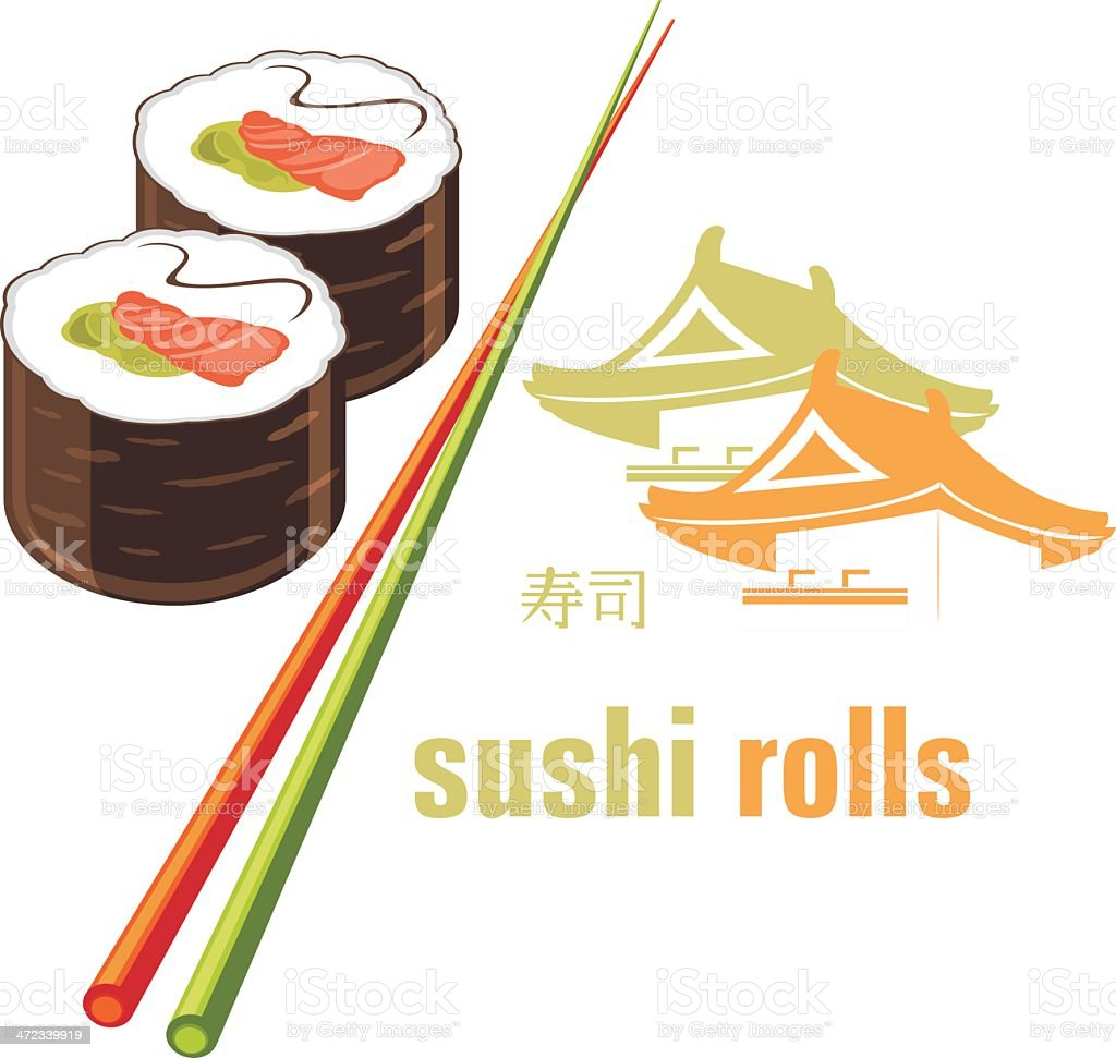 Sushi rolls and chopsticks. Icon for menu design royalty-free stock vector art