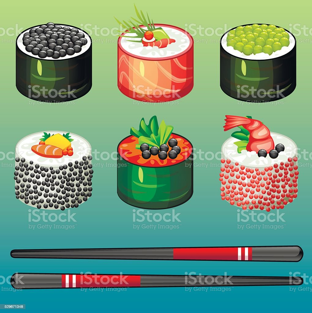 Sushi set icons vector art illustration