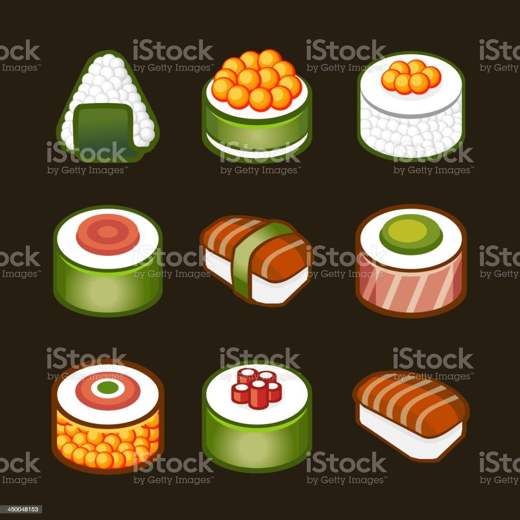 sushi set - japan cousine royalty-free stock vector art
